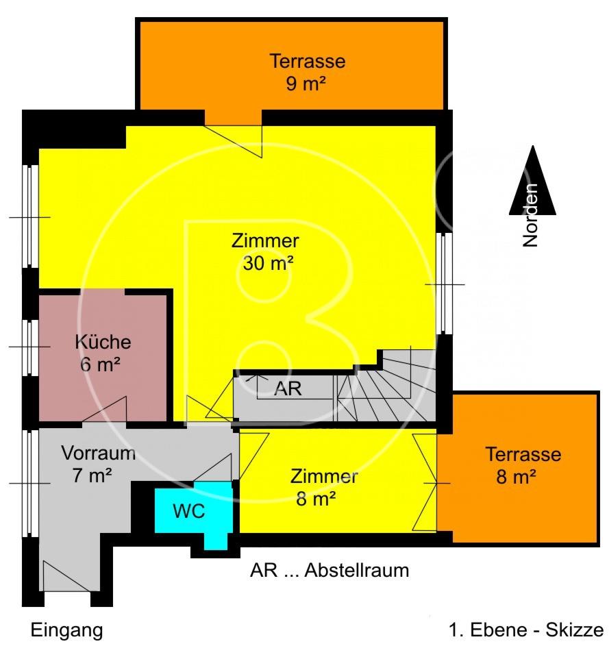 1. Ebene - Skizze - Attraktive Terrassen-Maisonette mit Garage in Toplage