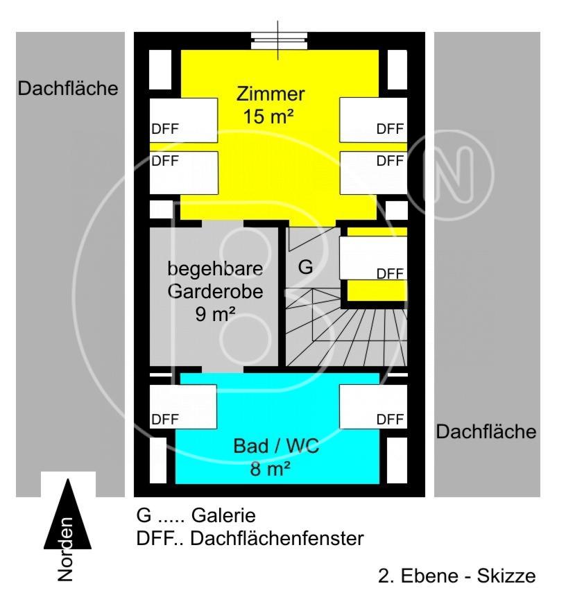 2. Ebene - Skizze - Attraktive Terrassen-Maisonette mit Garage in Toplage