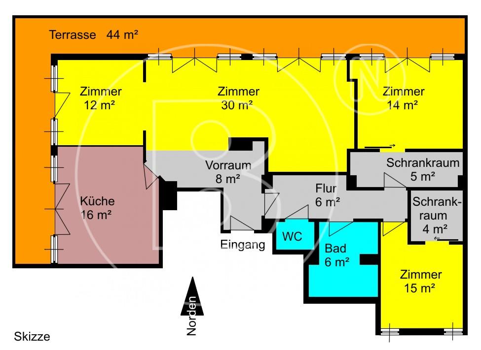 GRUNDRISS - Investobjekt: Charmante DG-Wohnung + Terrasse + Staatsopernblick